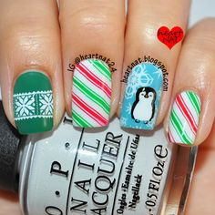 Mr. Penguin holiday nails