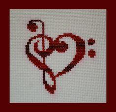 Treble and Bass Clef Heart Cross Stitch Pattern PDF, Valentines Music Pattern… Cross Stitch Music, Cross Stitch Heart, Counted Cross Stitch Patterns, Cross Stitch Designs, Cross Stitch Embroidery, Embroidery Patterns, Valentine Music, Back Stitch, Cross Stitching