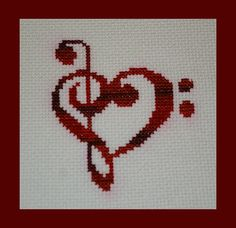Treble and Bass Clef Heart Cross Stitch Pattern PDF, Valentines Music Pattern, Instant Download