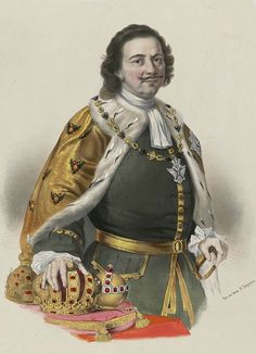 Peter the Great of Russia (1672–1725), antique chromolithograph