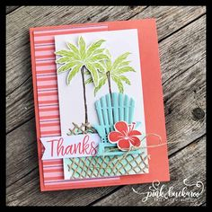 Pink Buckaroo Designs: Beach Happy Scrapbook Page (Stamp Club To Go) Style Tropical, Stamping Up Cards, Rubber Stamping, Beach Cards, Birthday Cards For Men, To Go, Flower Cards, Cool Cards, Scrapbook Pages
