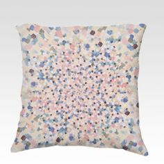 SWEPT AWAY 4 Square  Fine Art Velveteen Throw Pillow, Decorative Home Decor Colorful Pastel Fine Art Toss Cushion, Modern Bedroom Bedding Dorm Room Living Room Style Accessories by EbiEmporium, $75.00