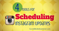 D you use Instagram as a part of your social media marketing? Here are four tools to schedule Instagram updates. http://www.socialmediaexaminer.com/4-instagram-tools-scheduling-instagram-updates/?utm_source=Pinterest&utm_medium=PinterestPage&utm_campaign=New