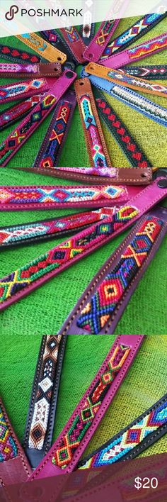 3pc Leather Knit Handmade Bracelets Ethnic Boho Brand new handcrafted Bracelets made in genuine leather and hand Knit friendship colorful bands with tribal designs,  some snap closure some tie closure. Choose any 3 for $24  Fast same day shipping :) Cielito Lindo  Jewelry Bracelets