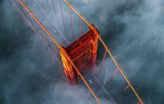 Фото обои США, мост Золотые ворота, туман