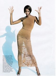 US Harper's Bazaar February 1997 the flesh tones Ph: Peter Lindbergh Model: Naomi Campbell Fashion Editor: Tonne Goodman Hair: Odile Gilbert Makeup: Stephane Marais