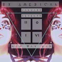 Promo art for january 2016 Ex American show at New Way bar in Ferndale