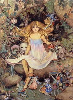 "Maud Tindall Atkinson::""Pansy with the Fairies"". Frontispiece to ""Lady Ann's Fairy Book"" - Catherine Milnes Gaskell. Small London:Grant Richards The best picture in the book. There are 16 Fairy people hidden within picture. Fantasy World, Fantasy Art, Troll, Elsa Beskow, Vintage Fairies, Beautiful Fairies, Fairy Art, Marjolein Bastin, Children's Book Illustration"