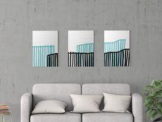 Modern Art Poster Set. Black White Teal. Printable Art, Wall Art, Minimalist Poster, Abstract Art, Contemporary Art. Home Decor, Wall Decor