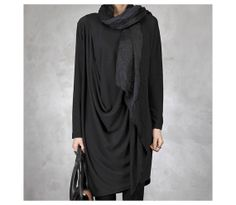 Korea Black Loose Fit Dress Pull Over Top Dress by MordenMiss, $52.00