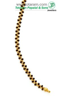 22K Gold Black Beads Chain in Length 16.5 inches BBC944 - Indian Gold Jewelry from Totaram Jewelers