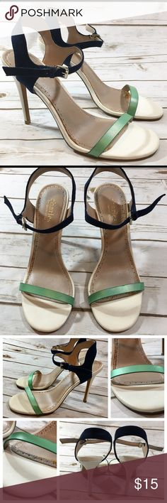 """Charles by Charles David Strappy Heels Charles by Charles David ivory, navy blue, and green strappy high heeled sandals/shoes.  Labeled a size 7.5, in US women's sizing.  Heel measures approximately 3 3/4"""" tall.  Only worn a couple of times. However, the glue holding down the insole padding has shown some discoloration around the insole edges. This won't be visible when the shoes are worn. Otherwise in great shape. Charles David Shoes Heels"""
