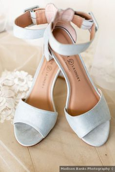 Classic, open-toe wedding shoes - strappy, block heels for wedding - See more details from Bryan and Christines wedding on WeddingWire!