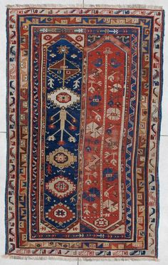 "This circa 1850 antique Turkish Megri rug measures 4'3"" X 7'0"" (131 x 213 cm)…"