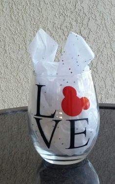 It's all about your love of Mickey! That being said, these Mickey love wine glasses are perfect for your love of Disney! Wine Glass Sayings, Wine Glass Crafts, Wine Craft, Wine Bottle Crafts, Wine Bottles, Disney Wine Glasses, Mickey Love, Disney Diy, Disney Crafts