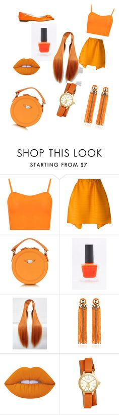 """Orange casual"" by leo-harry-potter ❤ liked on Polyvore featuring beauty, WearAll, Pleats Please by Issey Miyake, Carven, Begada, Lime Crime, Tory Burch and Versace"