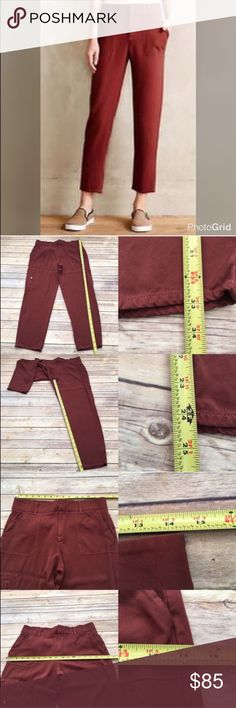 🎍Sz 6 Anthro Cartonnier Cropped Rust Ankle Pants Measurements are in photos. Has 2 marks on the back leg, no other flaws. D2  I do not comment to my buyers after purchases, due to their privacy. If you would like any reassurance after your purchase that I did receive your order, please feel free to comment on the listing and I will promptly respond.  I ship everyday and I always package safely. Thank you for shopping my closet! Anthropologie Pants Ankle & Cropped