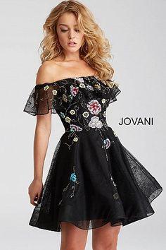 Black Multi Off The Shoulder Fit and Flare Short Dress 54430 #EmbroideredDress #Jovani #PromDress #Prom2018