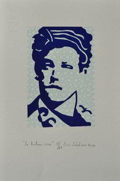 """""""Le bateau ivre"""", linogravure réalisée par Eric Schelstraete en onze exemplaires, 2014. Un portrait du poète Arthur Rimbaud."""
