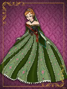 Anna collection vêtements de reine. Sa robe ressemble un peu à celle de la princesse Anastasia, lorsqu'elle chante dans le palais de St Petersburg.
