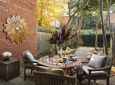 Even your patio can add style with a sunburst mirror