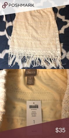 """Chico's crochet fringe skirt Woman's (juniors) size 1 Chico's crochet fringe skirt. New with tags. Off white. Elastic waist measures 16"""" flat across and this is 23"""" long (not counting 3 1/2"""" fringe) Chico's Skirts Midi"""