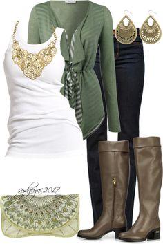 Knit stripe cardigan.skinny jeans.boots