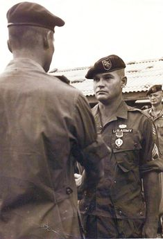 SSG Adkins receives the Purple Heart during his tour in Vietnam, circa 1966. SSG Adkins was serving as an intelligence sergeant with Detachment A-102, Camp A Shau, and recently received the Congressional Medal of Honor for actions during 38 hours of close-combat fighting against enemy forces March 9–12, 1966, near Camp A Shau, Vietnam.