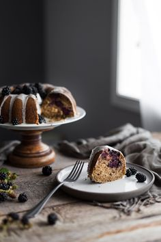 A simple bundt cake bursting with late summer blackberries! Topped with zingy lemon glaze, it's perfect for summer gatherings. Cake Recipes, Dessert Recipes, Delicious Desserts, Blackberry Cake, Cake Photography, Cake Tasting, Food Styling, Cupcake Cakes, Cupcakes