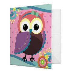 Gorgeous Folk Art Owl with Flowers Vinyl Binder
