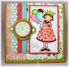 Birthday card by Kris (DT). Whimsy and Stars Studio, rubber stamps and digital stamps.