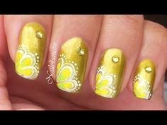 Yellow flower nail art, Hi Everyone, Here is very simple yellow flowers nail art. It is simply hand painted - no techniques what so ever! Its free hand and you can modify the color ...