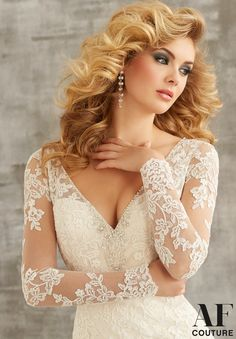Bridal Gown 1350 Embroidered Lace Appliques on Net Trimmed with Crystal Beading