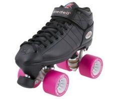 Advertisement(eBay) Riedell R3 Derby RS Quad Roller Speed Skates w/ Pink Radar POP Wheels