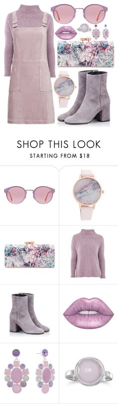 """Lilac"" by devonkathleenallen ❤ liked on Polyvore featuring RetroSuperFuture, Ted Baker, Topshop, Fratelli Karida, Lime Crime, Monet, monochrome and purple"