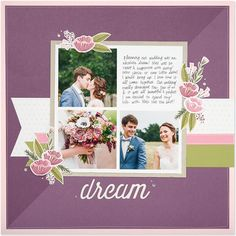 Dream Single Page Scrapbook Layout featuring Close To My Heart My Acrylix® From the Heart Stamp Set & Base & Shade Stamping #ctmh #closetomyheart #stamping #nationalstampingmonth #baseandshade #layeredstamping #dream #scrapbooking