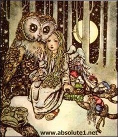 ~ Old-fashioned storybook illustration of a fairy with her owl companion and a group of friendly, sleepy gnomes. Art And Illustration, Art Magique, Fairytale Art, Owl Art, Fairy Art, Conte, Faeries, Illustrators, Fantasy Art