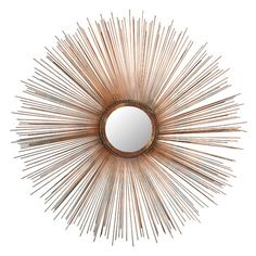 Copper-finished iron wall mirror with sunburst framing.   Product: Wall mirrorConstruction Material: Iron, wood a...