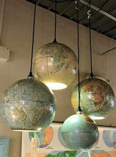 Old world globes tiurned into pendant lights