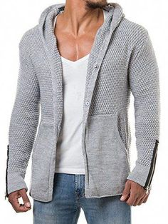 2da88b0a995c0f New EastLife Mens Cardigans Knitted Hoodie Jacket Long Sleeve Casual Sweater  Side Pockets Mens Fashion Clothing