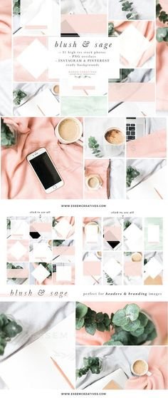 Blush Sage Stock Photo Social Bundle by Essem Creatives on @creativemarket This Blush and Sage Feminine Stock Photos and Social Media Branding Bundle is a Mega Pack of content for small business owners. This kit includes modern minimalist branding images with a touch of watercolor. It contains high resolution feminine stock photos, pre-made backgrounds for Instagram Posts, Instagram Stories & Pinterest, and also transparent graphic overlays which you can add on any stock photo.