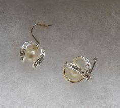 $6.00 Silvertone Earrings With Clear Stones & 'Pearls' (81715-1325MS) jewelry, earring #Unbranded #DropDangle