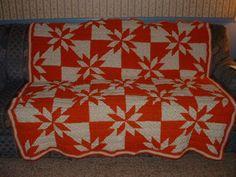 "Acrylic 63""X 63 Orange/Cream Festive Hunter Star Afghan Blanket,Lap Rug Handmade #Unbranded"
