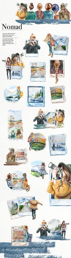 Watercolor Splatter, Watercolor Paintings, Travel Clipart, Photographer Logo, Polaroid Photos, Wedding Stationary, Beautiful Artwork, Planner Stickers, Digital Scrapbooking