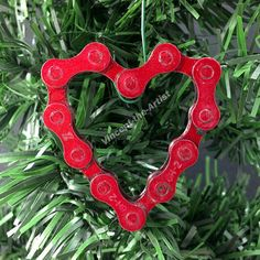 Bicycle Chain HEART Ornament Gift for Cyclist by VincentTheArtist, $12.95