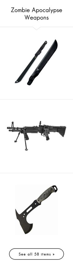 """""""Zombie Apocalypse Weapons"""" by potatoxhead ❤ liked on Polyvore featuring weapons, accessories, zombies, fillers, survival, guns, armas, filler, wepons and archery"""