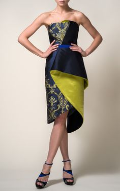 Strapless Organza Brocade Draped Cocktail Dress In Cobalt by Bibhu Mohapatra…