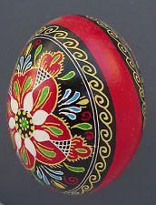 Pysanka, Real Ukrainian Easter Egg, Hen Chicken Shell, Flowers, NK13, Red