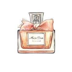 Miss Dior, Perfume Bottle, Watercolor Illustration, Art Print. $10.00, via Etsy.
