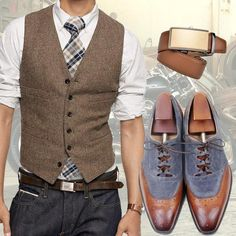 Run your Elegance 365 days a year! Elegance is a mindset Smart Casual brown and grey Outfit - Jeans - Runit365 your Elegant Men Store #shoes #belt #watch #BundleAndSave #ShopYourLook